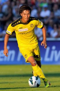 AARAU, SWITZERLAND - AUGUST 10: Yuya Kubo of BSC Young Boys in action during the Swiss Super League match between FC Aarau v BSC Young Boys at Brugglifeld on August 10, 2013 in Aarau, Switzerland. (Photo by Harold Cunningham/Getty Images)